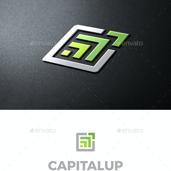 Capital Up Logo Abstract Green Arrows