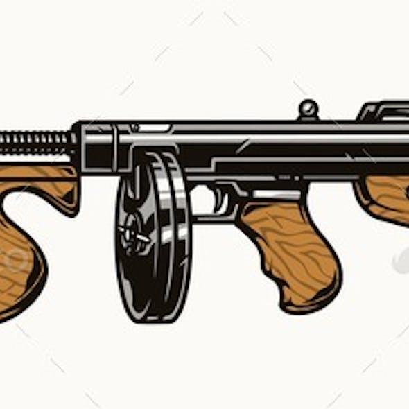 Thompson Submachine Gun Colorful Concept