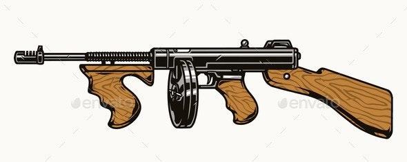 Thompson Submachine Gun Colorful Concept - Miscellaneous Vectors