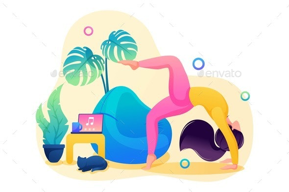 Girl Does Yoga for the Health of the Body and - Miscellaneous Vectors