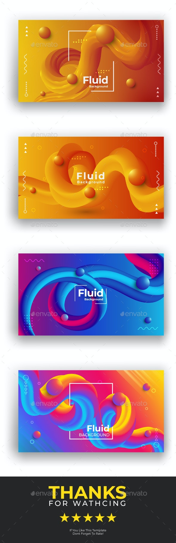 3d modern gradient color fluid background with 3d balls Vector Pack - Backgrounds Graphics