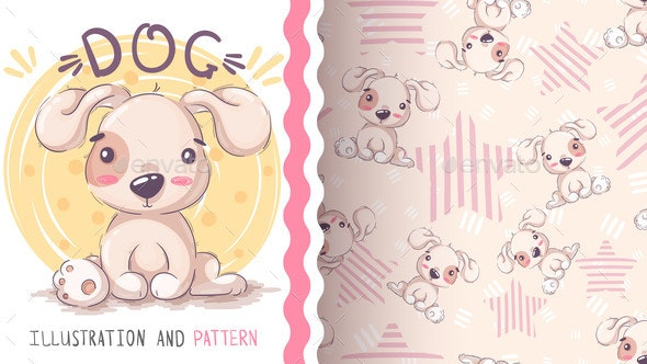 Childish Cartoon Character Animal Dog  Seamless - Animals Characters