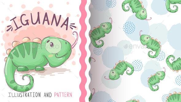 Childish Cartoon Character Animal Iguana - Animals Characters