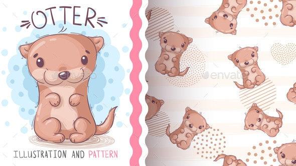 Watercolor Cartoon Character Animal Otter - Animals Characters