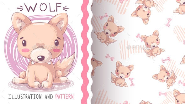 Childish Cartoon Character Animal Wolf  Seamless - Animals Characters
