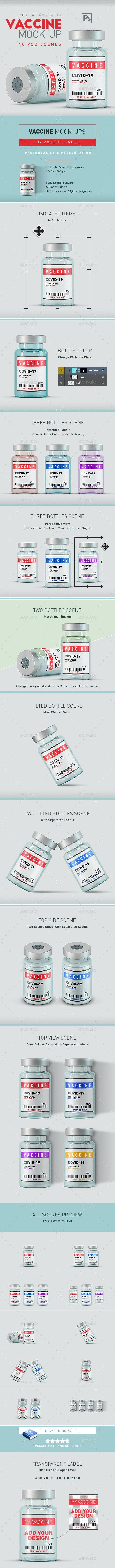 Vaccine Vial Bottles Mock-Up - 10 Scenes - Product Mock-Ups Graphics