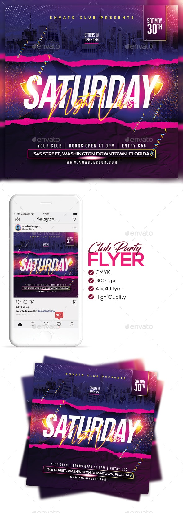 Club Party Flyer/Poster - Clubs & Parties Events