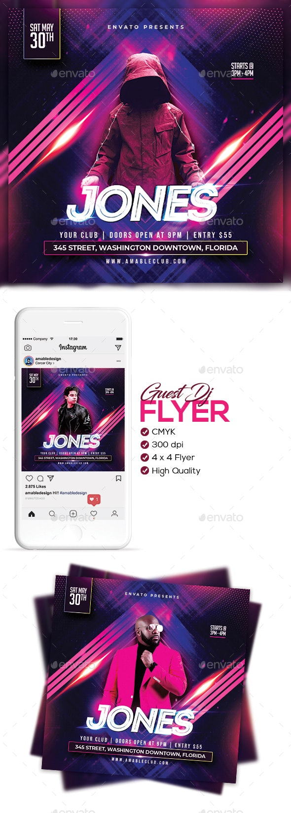 Guest DJ Flyer/Poster - Clubs & Parties Events