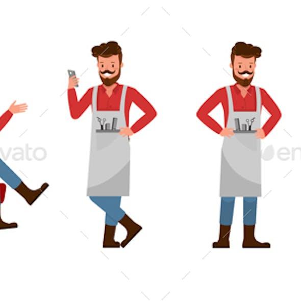 Barber Vector Character Design.
