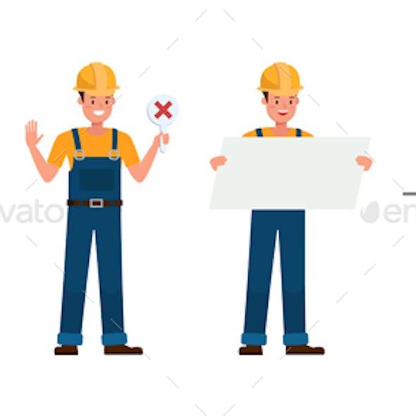 Builder Vector Character Design.