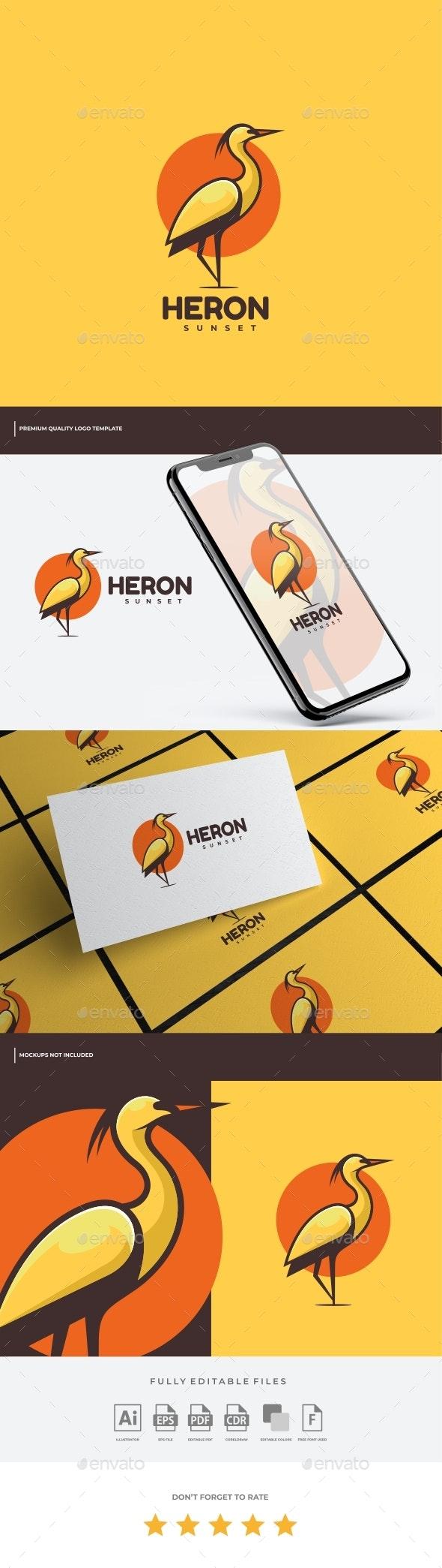 Heron Simple Mascot Logo Template - Animals Logo Templates