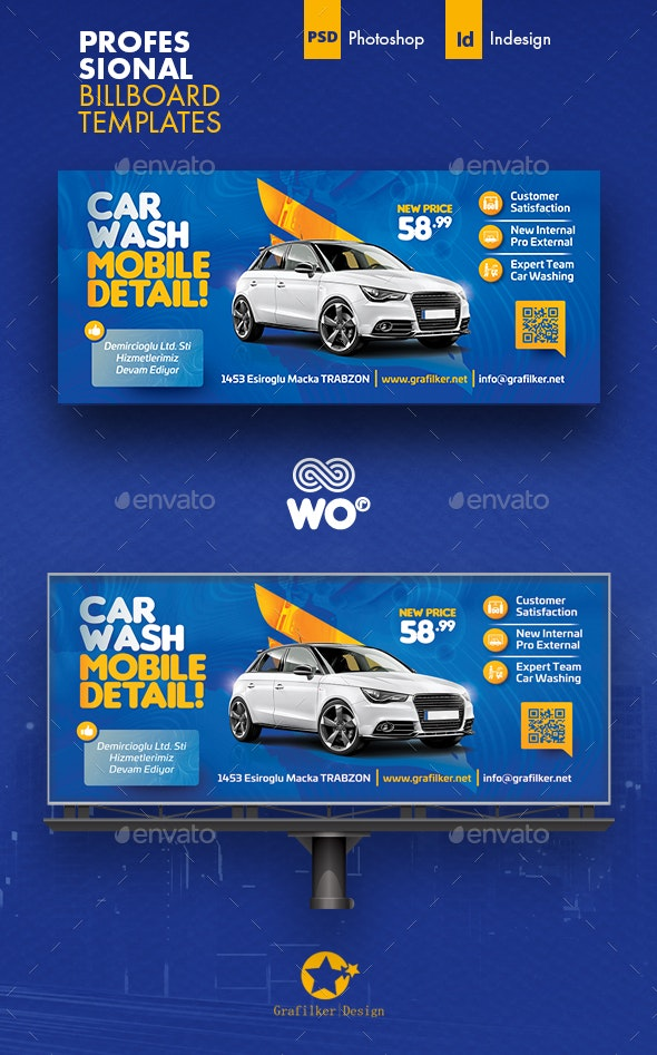 Car Wash Billboard Templates - Signage Print Templates
