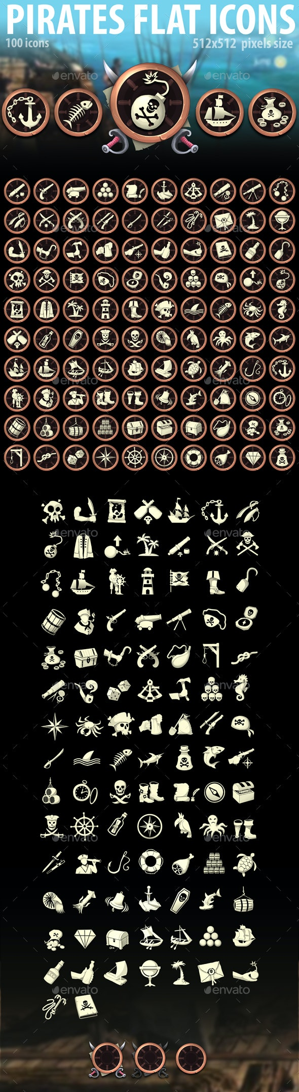 Pirates Flat Icons - Miscellaneous Game Assets