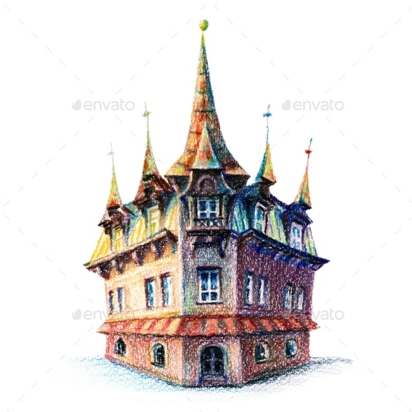 Old House in Poznan Poland - Scenes Illustrations