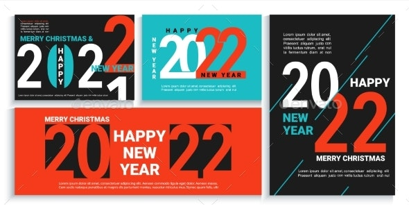 Set 2022 New Year Bannersflyerscards Posters - Seasons/Holidays Conceptual