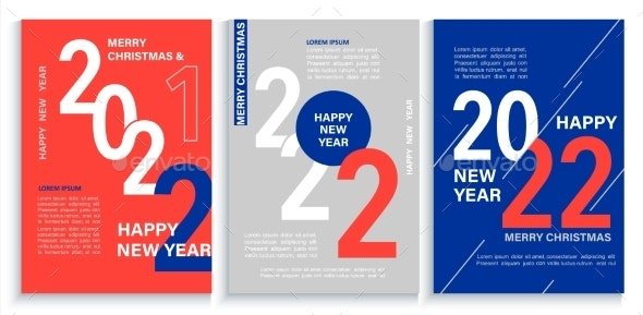 Set 2022 New Year Bannersflyers in Redbluewhite - Seasons/Holidays Conceptual