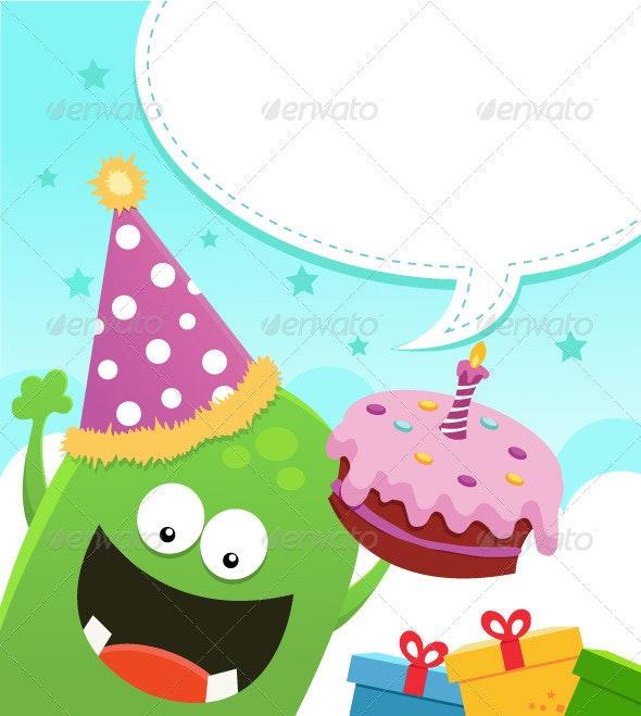 Monster's Birthday Message - Characters Vectors