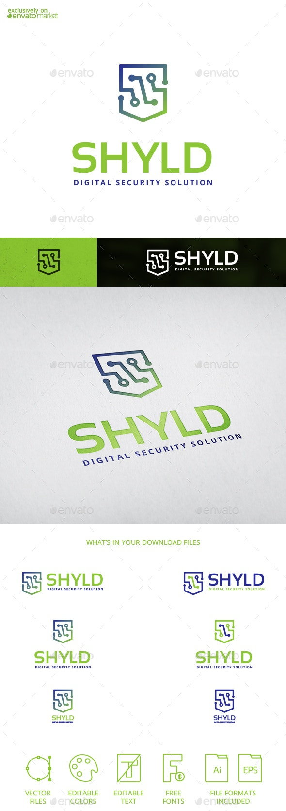 Shyld Digital Shield Security Letter S Logo Temaplate - Abstract Logo Templates