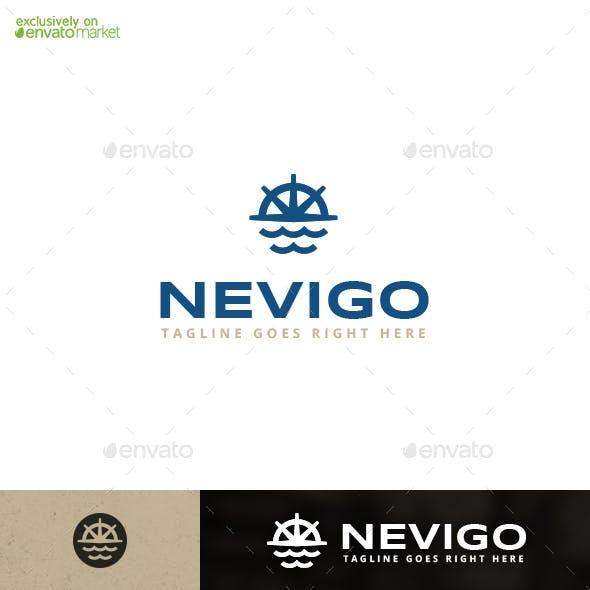 Nevigo Navigation Navy Marine Sailing Logo Template