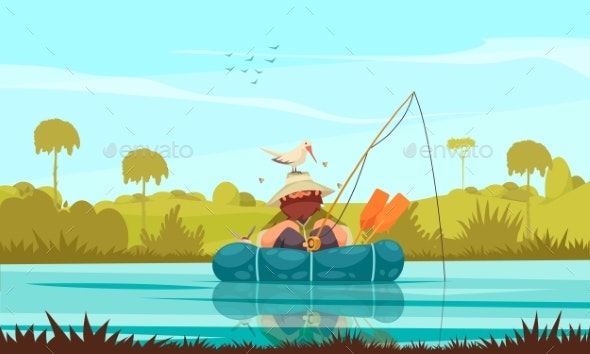 Fishing Cartoon Composition - People Characters