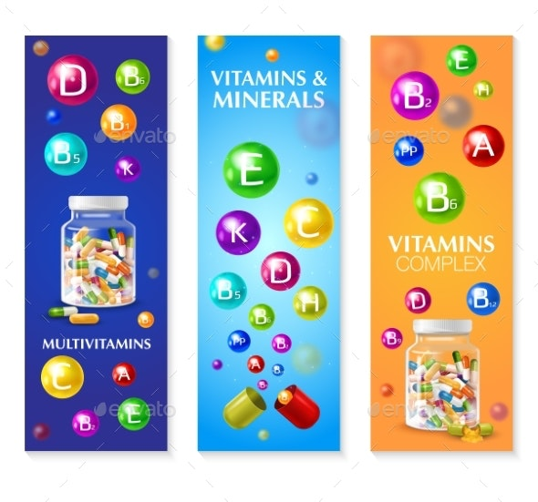 Vitamin Mineral Vertical Banners - Miscellaneous Illustrations