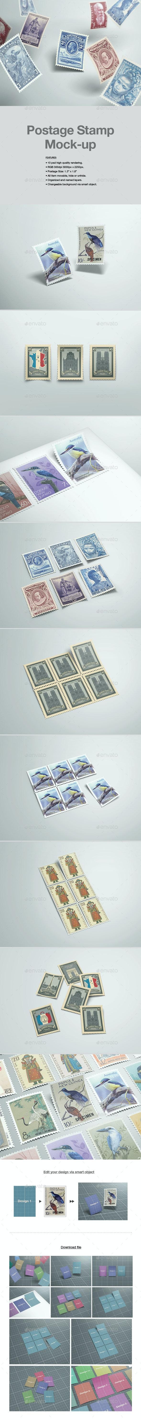 Postage Stamp Mock-up - Product Mock-Ups Graphics