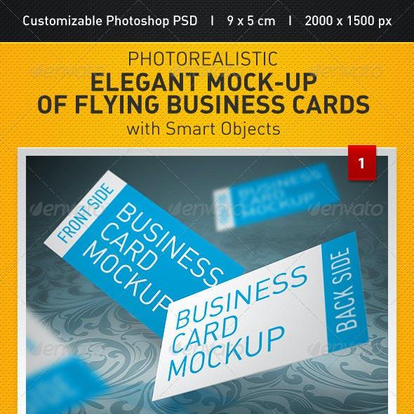 Elegant Mock-up of Flying Business Cards