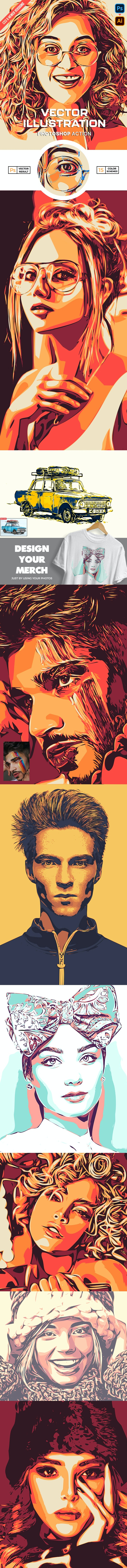 Vector Illustration Photoshop Action - Photo Effects Actions