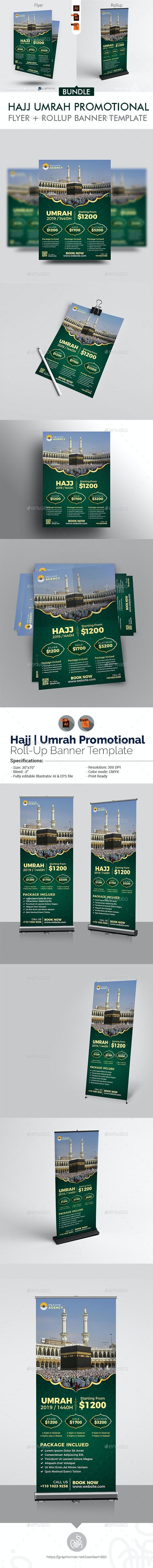 Hajj & Umrah Flyer + Rollup Banner Bundle - Flyers Print Templates