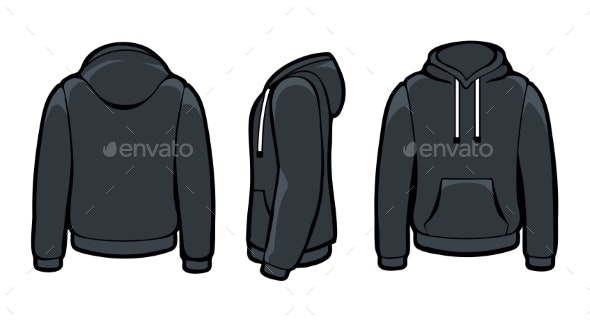 Black Hoody Sweatshirts - Man-made Objects Objects