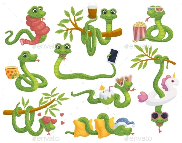 Funny Cute Cartoon Snakes Characters Set Flat - Animals Characters