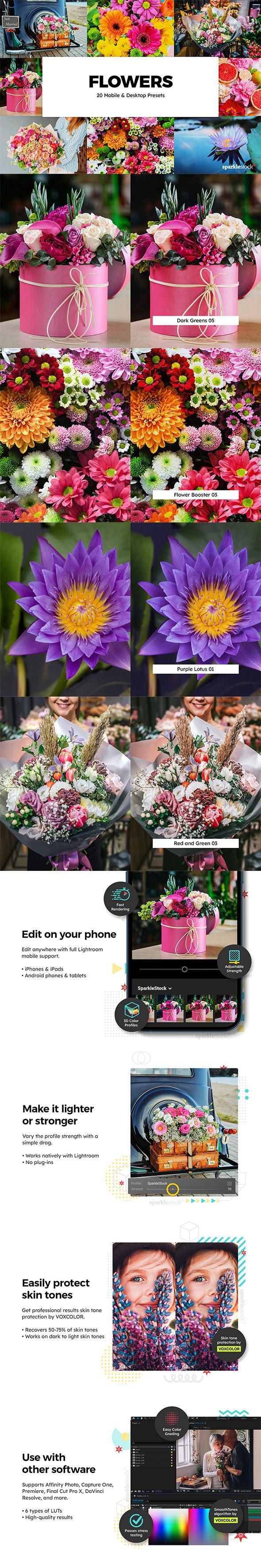 20 Flowers Lightroom Presets & LUTs - Lightroom Presets Add-ons