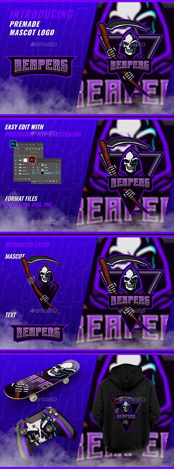 Reaper - Mascot Esport Logo Template - Humans Logo Templates