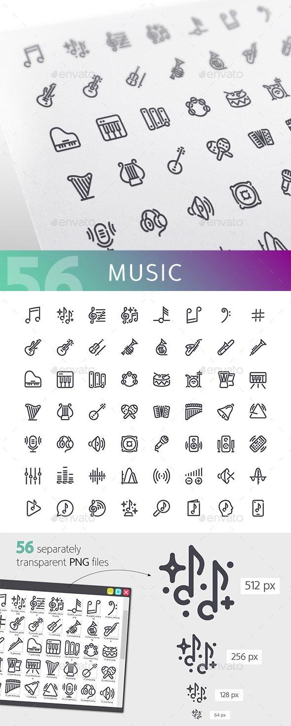 Music Line Icons Set - Media Icons