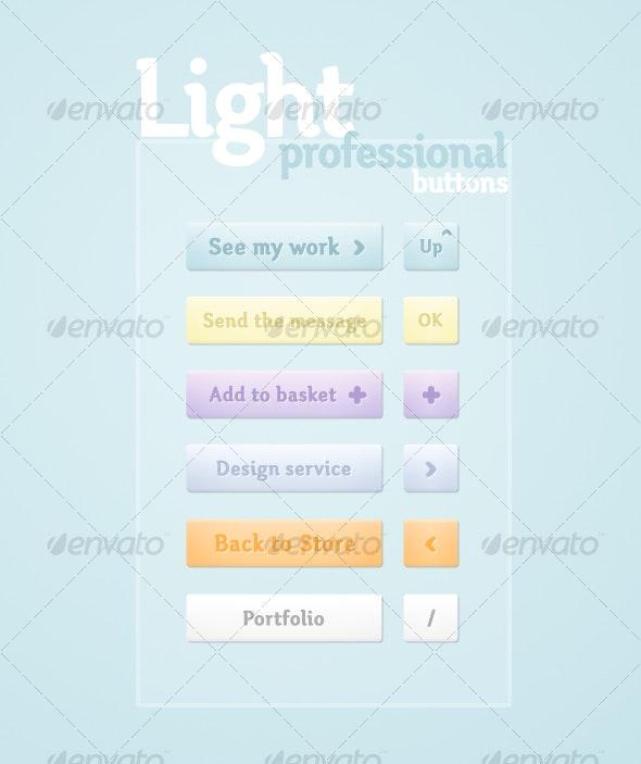 Light Professional Buttons - Buttons Web Elements
