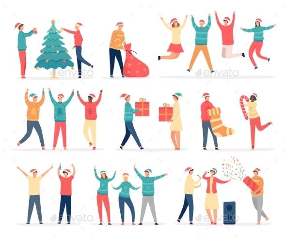People Celebrate Merry Christmas - Seasons/Holidays Conceptual