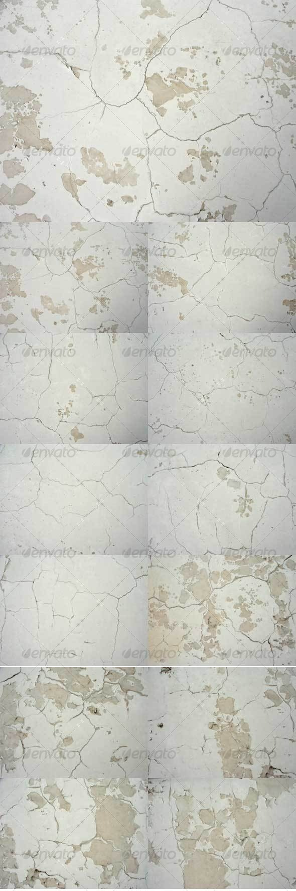 White Wall with Cracks (Set of 12) - Stone Textures