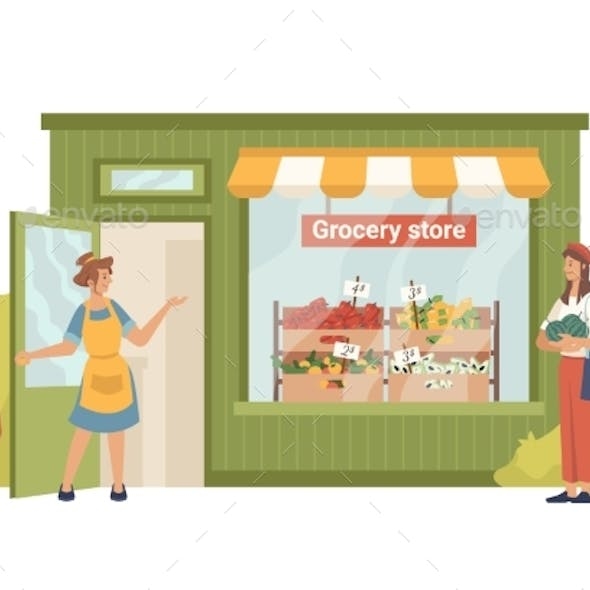 Seller Invites Buyer to Grocery Greengrocery Store
