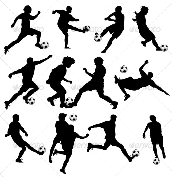 Vector Soccer Silhouettes - People Characters