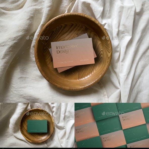 Business Card Mockup on Wooden Platter