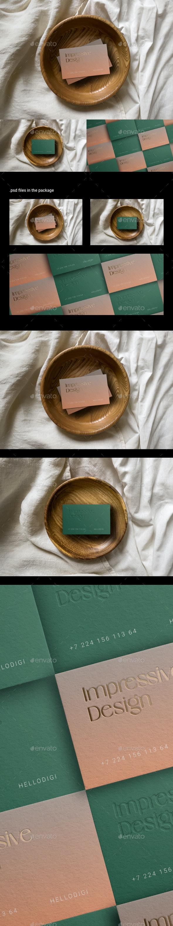 Business Card Mockup on Wooden Platter - Business Cards Print