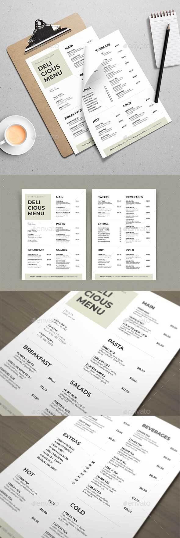 Simple Delicious Menu Template - Food Menus Print Templates