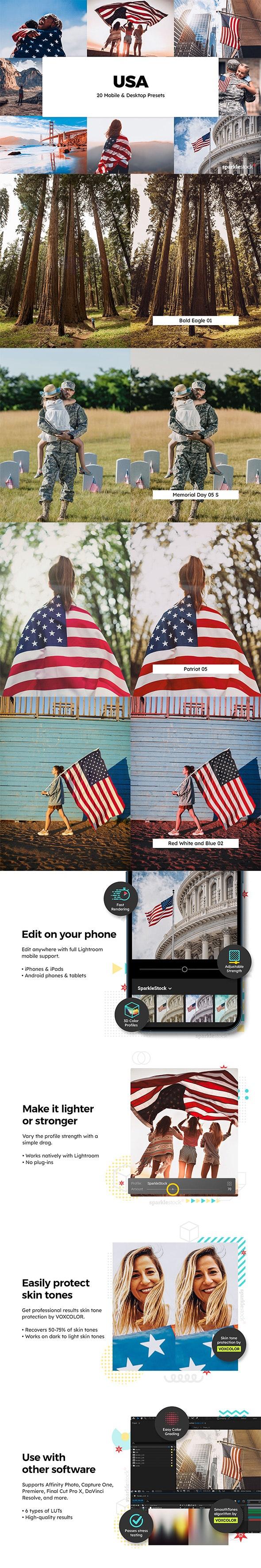 20 USA Lightroom Presets & LUTs - Lightroom Presets Add-ons