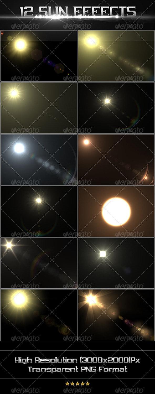 12 Sun Effects - Flourishes / Swirls Decorative