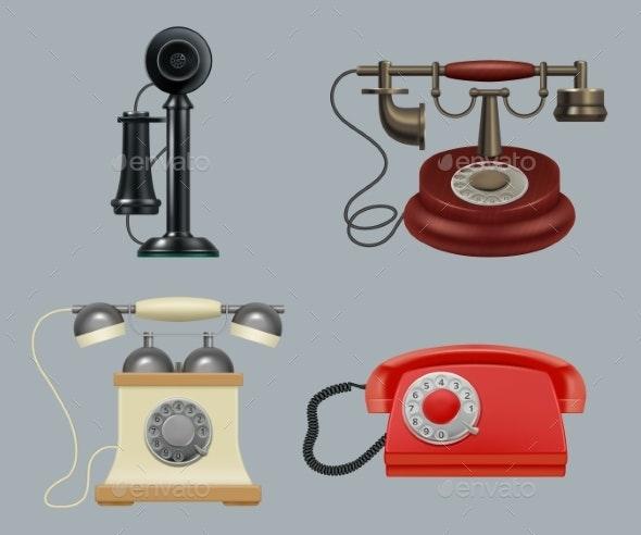 Retro Phones Realistic - Objects Vectors