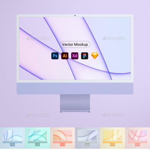 "New Computer 24"" Mockup all colors"