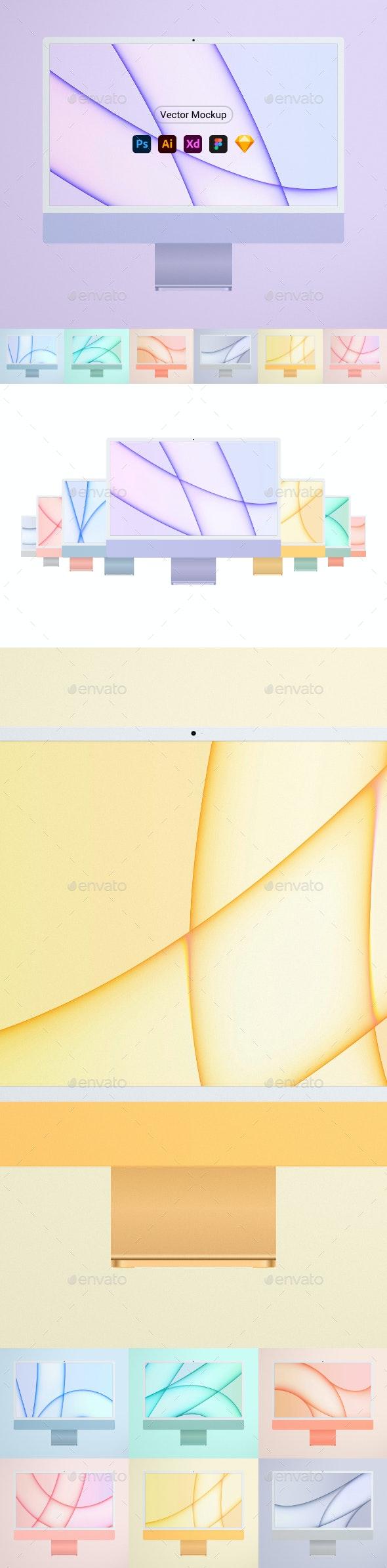 """New Computer 24"""" Mockup all colors - Monitors Displays"""