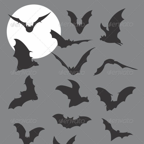 Flying Bats Silhouettes