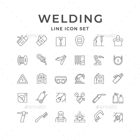 Set Line Icons of Welding - Man-made objects Objects