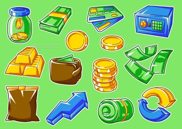 Set of Banking and Money Icons - Business Conceptual